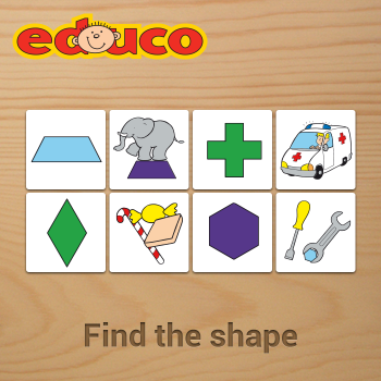 Educational iPad game Find the shape made by Educo to play in the Rootz reading app