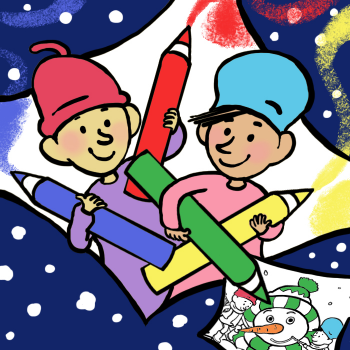 Educational iPad game winter coloring pages made by Ingrid ter koele to play in the Rootz reading app
